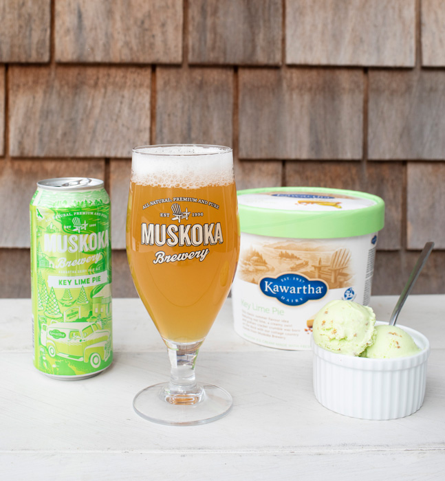 Left to Right: Tall can, glass of beer, tub of ice cream, ice cream in a bowl.