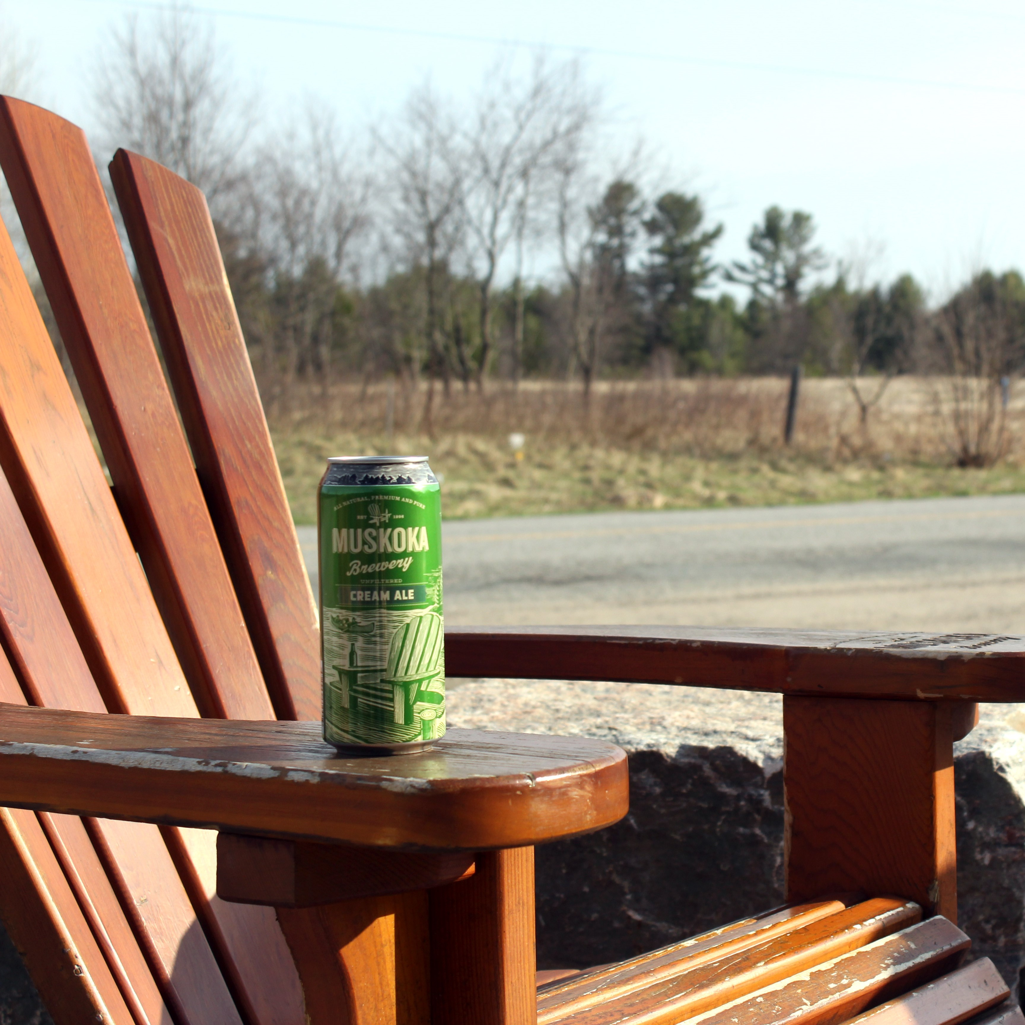 Cream Ale can on wooden Muskoka Chair
