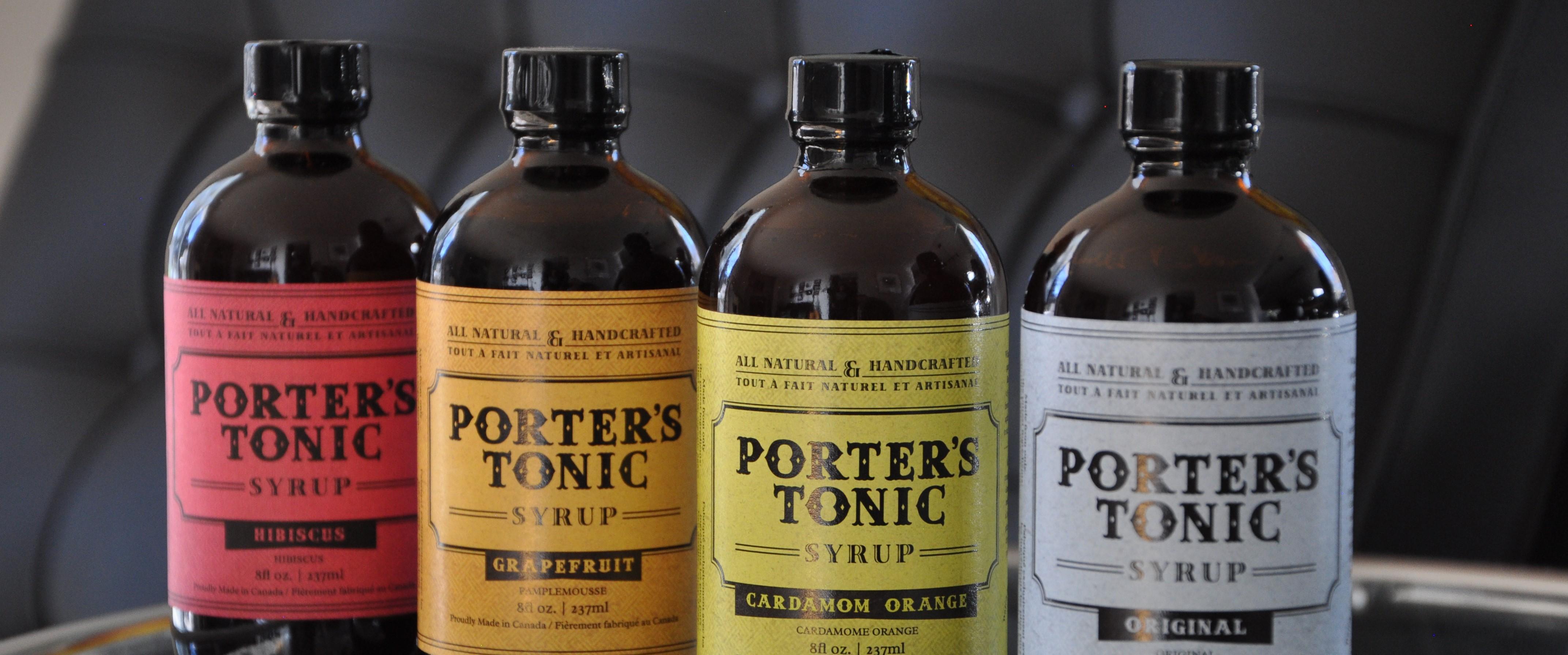 Set of 4 Porter's Tonic bottles