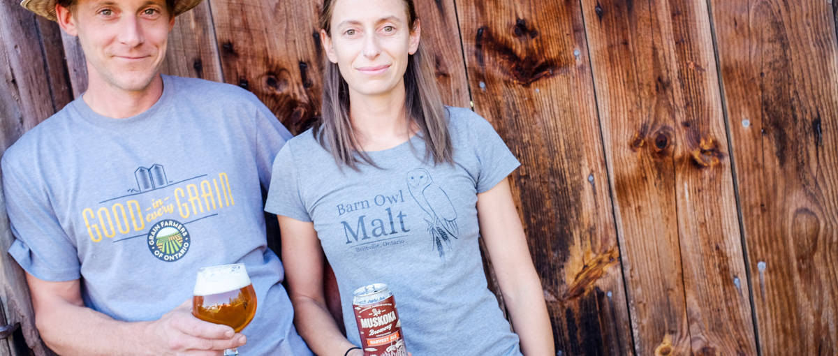 Devin and Leslie Huffman with a glass and a can of Harvest Ale.