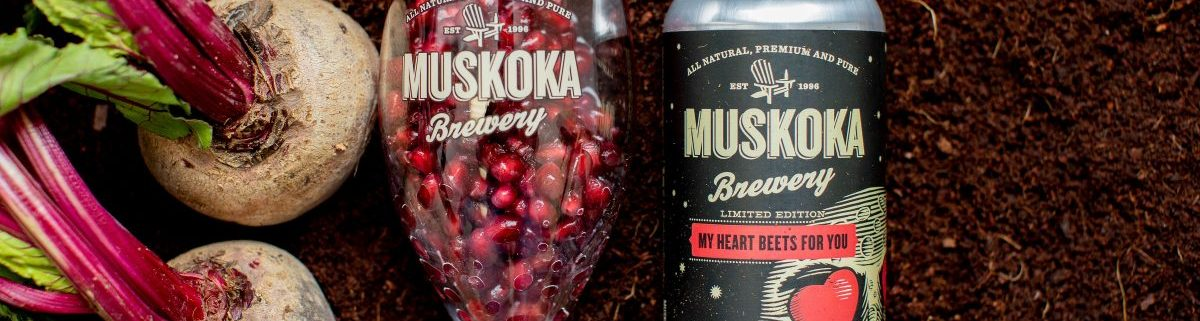 Beets, glass with pomegranate seeds, and My Heart Beets For You tall can.