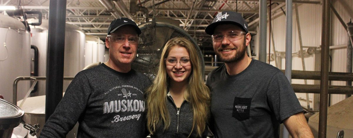 Darren, Alanna and Dave in the brewhouse.