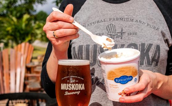 Cream Ale glass beside Kawartha Dairy Pralines and Cream